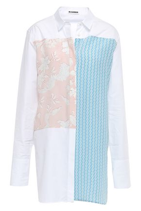 JIL SANDER Printed cotton and silk-blend shirt