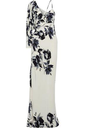 MICHELLE MASON Floral-print silk crepe de chine gown