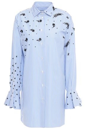 VALENTINO Embellished striped cotton-poplin shirt