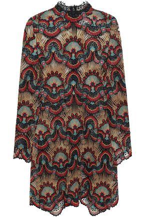 VALENTINO Metallic guipure lace mini dress
