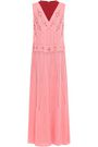 VALENTINO Beaded embroidered two-tone silk-crepe midi dress