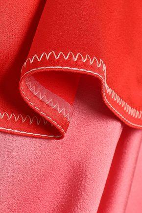 PETER PILOTTO Color-block satin-paneled tasseled crepe jumpsuit