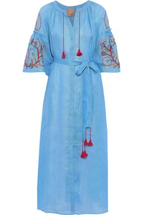 MARCH11 Lily belted embroidered linen-gauze maxi dress
