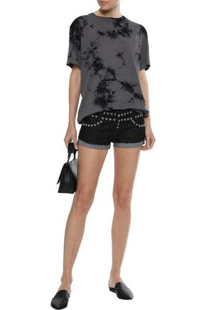 NORMA KAMALI Frayed studded denim shorts