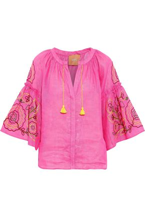 MARCH11 Lily embroidered linen-gauze top