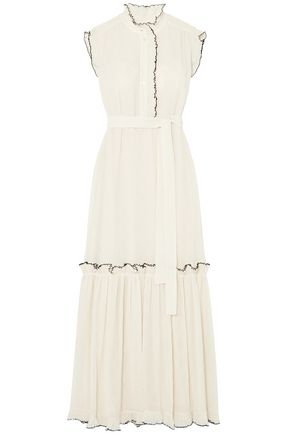 TORY BURCH Meredith ruffled crinkled-georgette maxi dress