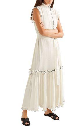 TORY BURCH Meredith ruffled crinkled-georgette maxi dress