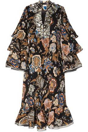 TORY BURCH Embellished printed plissé georgette midi dress