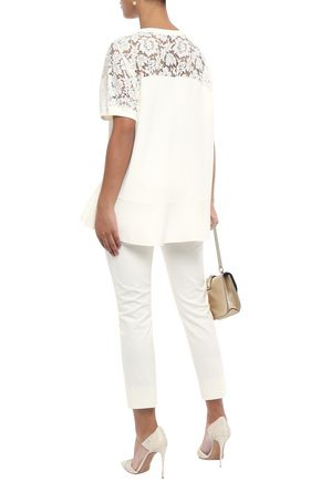 VALENTINO Lace-paneled stretch-knit top