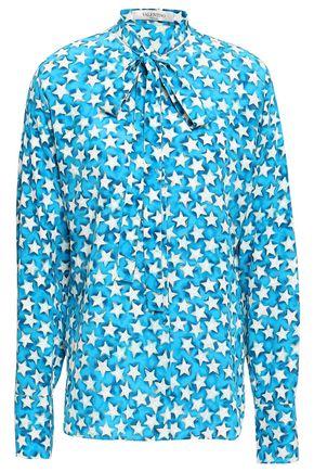 VALENTINO Pussy-bow printed silk-crepe shirt