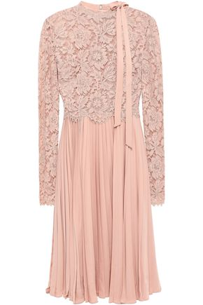 VALENTINO Pleated corded lace and silk-crepe dress