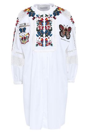 VALENTINO Embellished cotton-poplin mini dress