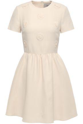 VALENTINO Floral-appliquéd wool and silk-blend mini dress