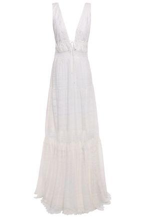 JONATHAN SIMKHAI Embroidered lace-trimmed crinkled silk-chiffon maxi dress
