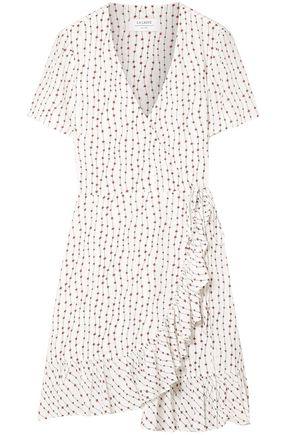 LA LIGNE Ruffled printed crepe mini wrap dress