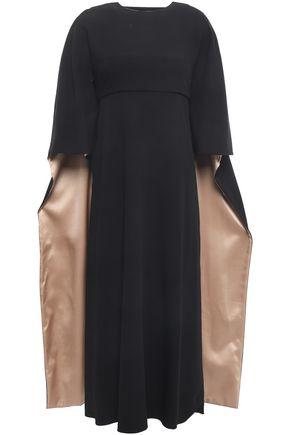 VALENTINO Cape-effect wool-crepe midi dress