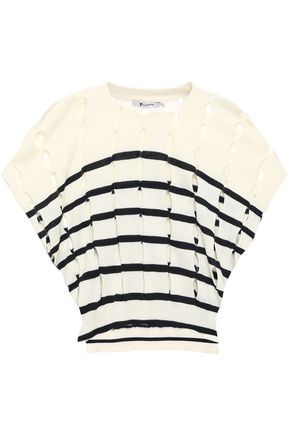 ALEXANDERWANG.T Cropped cutout striped cotton top