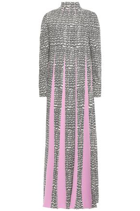 VALENTINO Printed paneled crepe turtleneck gown