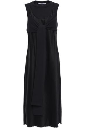 ALEXANDERWANG.T Tie-front layered jersey and satin dress