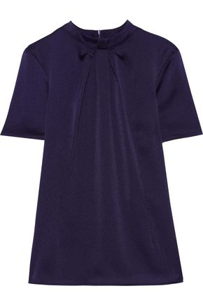 IRIS & INK Segrid pleated hammered-satin top