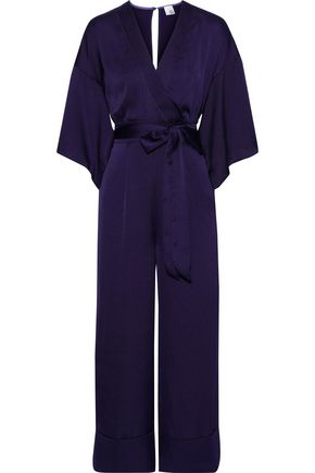 IRIS & INK Sydney wrap-effect hammered-satin jumpsuit