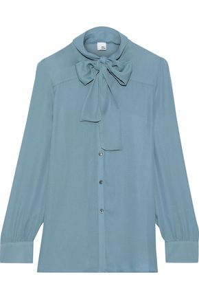 IRIS & INK Kindle pussy-bow crepe blouse
