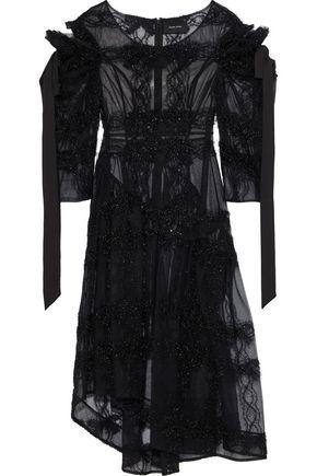 SIMONE ROCHA Tinsel-trimmed bow-detailed cutout tulle midi dress