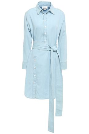 ACNE STUDIOS Belted cotton-chambray mini shirt dress