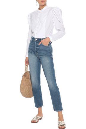 FRAME Gathered striped cotton-jacquard blouse