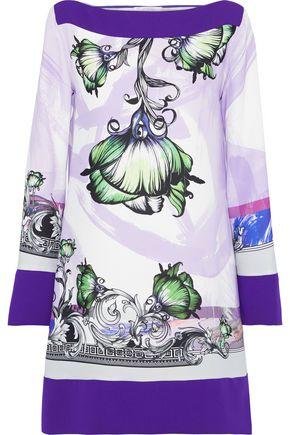VERSACE COLLECTION Floral-print crepe mini dress