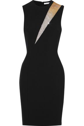VERSACE COLLECTION Crystal-embellished tulle-paneled cady mini dress