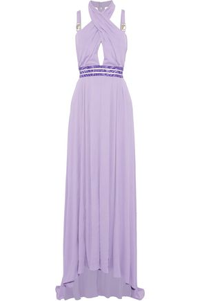 VERSACE COLLECTION Cutout jacquard-trimmed pleated crepe de chine gown