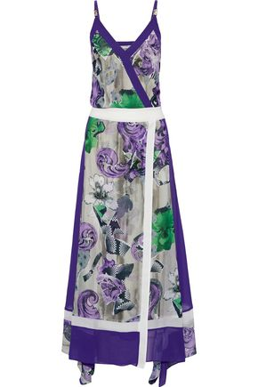 VERSACE COLLECTION Wrap-effect printed silk gown