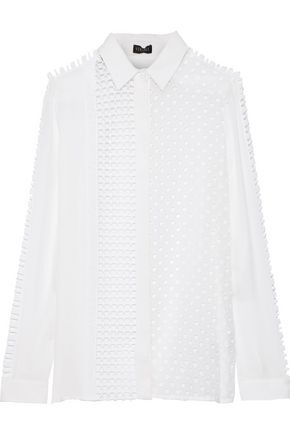 VERSACE Paneled silk crepe de chine, crochet and broderie anglaise shirt