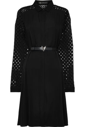 VERSACE Paneled crepe de chine, broderie anglaise and crochet shirt dress