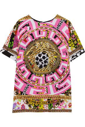 VERSACE Printed washed-silk T-shirt