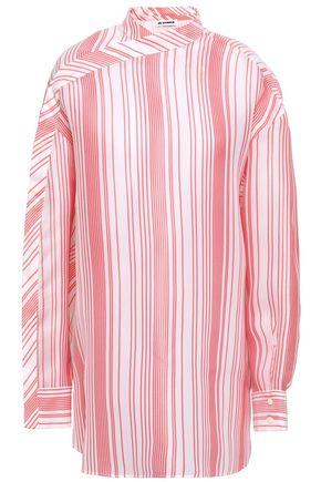 JIL SANDER Striped silk-jacquard blouse