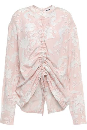 JIL SANDER Ruched floral-print silk crepe de chine blouse