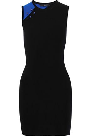VERSUS VERSACE Barbell-embellished ribbed-knit mini dress