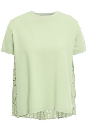 VALENTINO Pleated stretch-knit and corded lace top