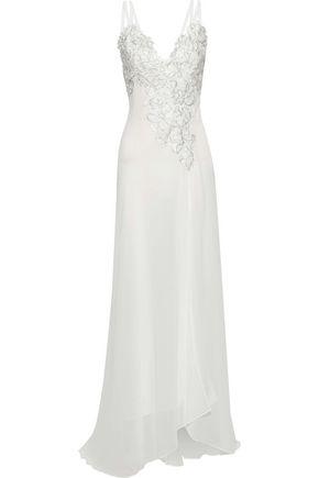 VERSACE COLLECTION Metallic guipure lace-appliquéd chiffon gown