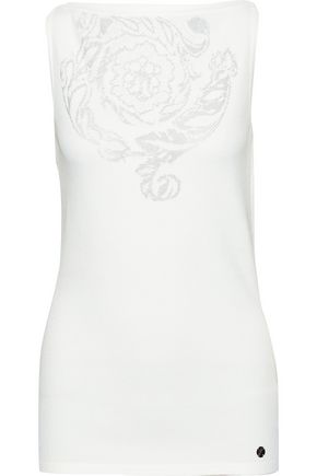 VERSACE COLLECTION Metallic jacquard-knit top