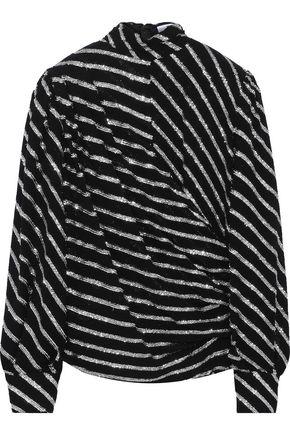 MSGM Metallic striped chiffon blouse