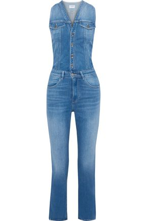 FRAME Le Slender faded denim jumpsuit