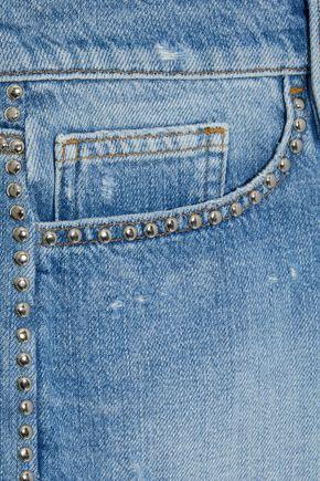 FRAME Le Stud distressed denim shorts