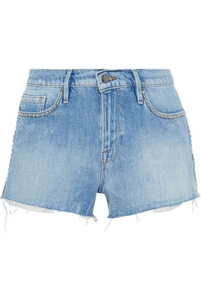 FRAME Le Stud faded denim shorts