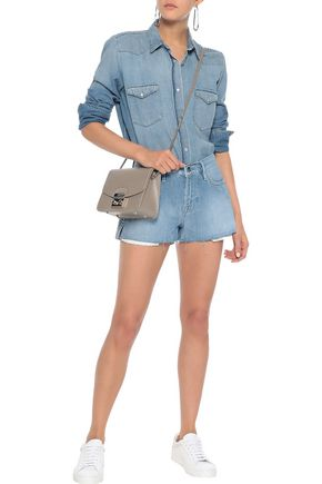 FRAME Le Stud distressed denim shorts