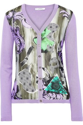 VERSACE COLLECTION Printed silk and cotton-blend cardigan