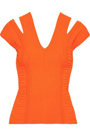 VERSACE Cutout ribbed-knit top