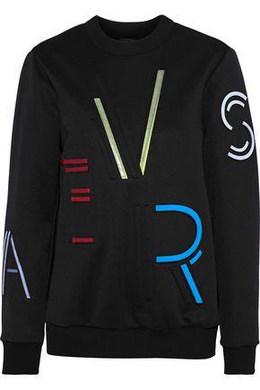 VERSACE Appliquéd embossed stretch-jersey sweatshirt